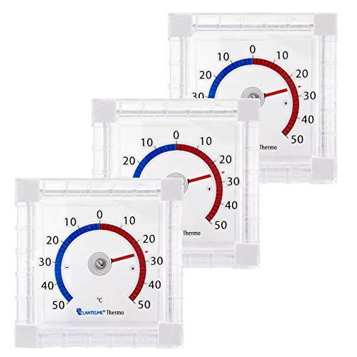 Lantelme 3 Stück Fensterthermometer Set Selbstklebend Außen Garten Fenster Thermometer Analog Fensterscheibe 6484