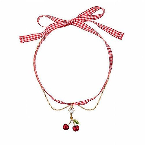 Thumby Fashion Cherry Lattice Ketting Wilde Meisje Hart Eenvoudige sleutelbeen Ketting Oorbellen Oorbellen Vrouwelijke Distributie