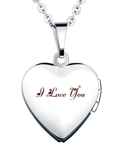 """Yumilok Edelstahl """"I Love You"""" Gravur Foto Medaillon zum Öffnen Photo Bilder Amulett Silberfarben Blau Herzanhänger Halskette für Damen Mädchen"""