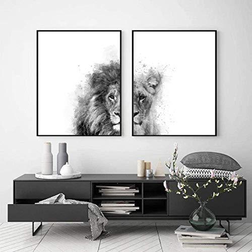 RuiChuangKeJi Poster Artworks 2 stuk 23.6×31.5in (60x80cm) Geen Frame Leeuw en Leeuwin Dierenprint Zwart Wit Abstract…