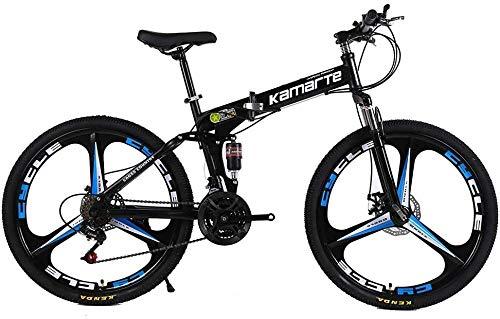 Shock Speed - Bicicleta de montaña con 3 radios, ruedas plegables, 24/26 pulgadas, frenos de disco duales (21/24/27 velocidades), 24 pulgadas, 21 velocidades, 27 velocidades, 24 pulgadas