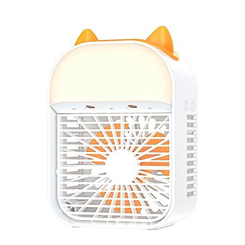 CHENNA Ventilador de Aire Acondicionado portátil, refrigerador de Aire Personal con luz Nocturna, 3 velocidades de Viento Ajustables para Dormitorio, Oficina, habitación pequeña, súper Tranquilo