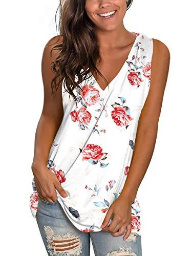 SAMPEEL Womens Tank Tops White Teens T Shirts Deep V Rose Print Cute Tunic Casual S