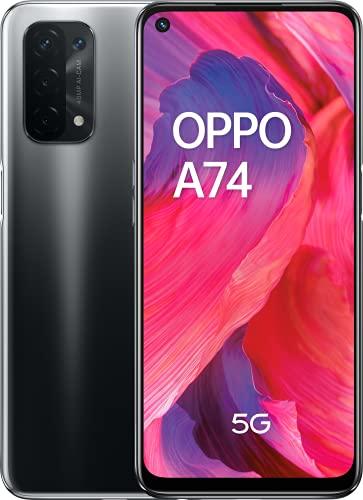 "OPPO A74 5G - Pantalla 6,49"" (FHD+ 90Hz, 6 GB RAM+ 128 GB Almacenamiento, Qualcomm Snapdragon 480 5G, Cuádruple cámara 48+8+2+2 MP, 5000 mAh con Carga rápida de 18 W,) Negro [Versión ES/PT]"