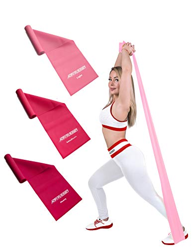 ActiveVikings® Fitnessbänder 1,2m Set 3-Stärken - Valkyrie Edition - Ideal für Muskelaufbau Physiotherapie Pilates Yoga Gymnastik und Crossfit - Fitnessband Gymnastikband Widerstandsband