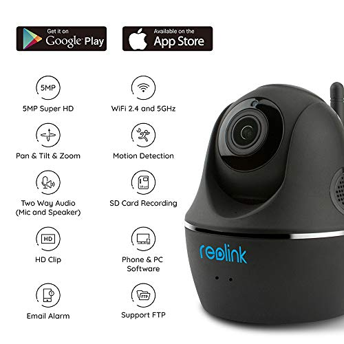 Reolink Indoor Camera 5GHz 2.4G Dual-Band WiFi 4MP HD Pan Tilt Baby Monitor, Wireless IP Cam for Home Security with PT Night Vision Activity Alert Two Way Audio Google Assistant | C1 Pro