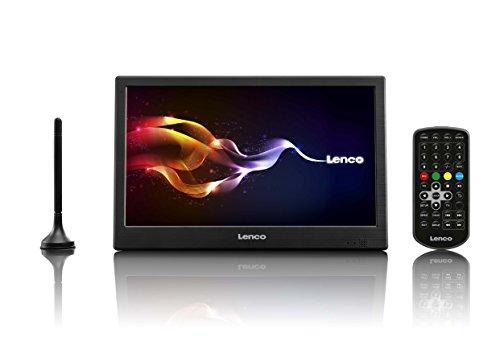 Lenco TFT-1038 10-Zoll Tragbarer HD TV mit DVB-T2 – LCD Ferneseher mit Multi-Media Player und USB – Digital & Analog TV für Küche, Schlafzimmer oder den Wohnwagen – Integrierter Akku – AV-In - Schwarz