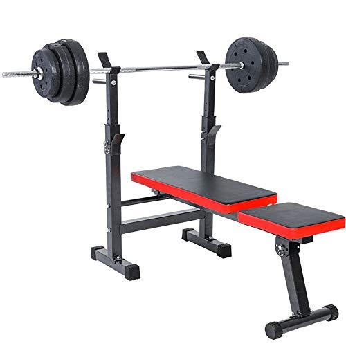 Yhjkvl Hantelbank Flachbank Dip-Station Folding Heavy Duty Training Gym Sit Up Barbell Fitness Ganzkörper-Indoor-Trainingsgeräte Multifunktions-Hantelbänke (Color : Red, Size : 120x58.4x105cm)