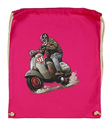 Druckerlebnis24 Turnbeutel - Motorroller Zombie Skull Vintage - Stoffbeutel aus Bio Baumwolle