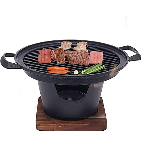 RDJSHOP Mini Grill Portable Griller Stove with Wooden Base and Fuel Holder, Outdoor Camping Courtyard Picnic Roast Meat Nonstick Die-Cast Aluminum