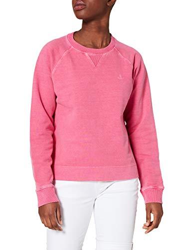 GANT D2. Sunfaded C-Neck Sweat Sudadera, Color Rosa, L para Mujer