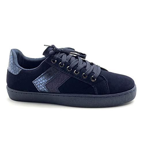 Angkorly - Damen Schuhe Sneaker - Tennis - Flache - Streetwear - Pythonschlangenhauteffekt - Glänzende Flache Ferse 3 cm - Blau BK1 T 38