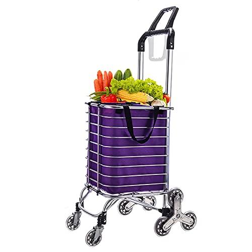 rff Carrito de la Compra/escalando escaleras portátiles Plegable Tienda de la Compra/Carro de la Compra/doméstico Push-Pull Rod/Pull Cargo Carro Trailer (Color : B)