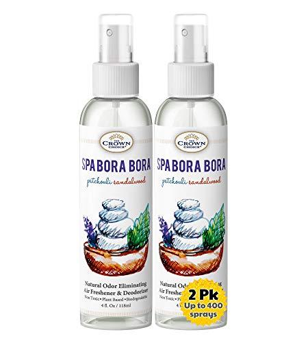 Natural Spray Air Refreshener Uses Patchouli Sandalwood Essential Oils (SPA Bora Bora 2PK) | NO Phthalate, Fragrance, Chemicals | Sprayer to Refresh Deodorize Room, Home, Bathroom, Toilet