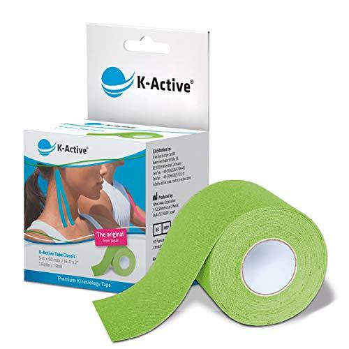 K-Active Tape Classic   Kinesiotapes super hautverträglich   wasserfest   Kinesiologie Tape für Sport & Therapie, extra langer Halt   [5cmx5m] grün