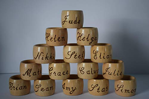 Personalised wooden Napkin ring barrel shaped pyrography