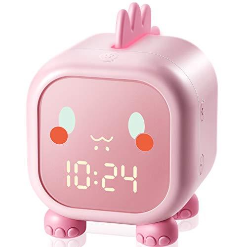 Homealexa Kinder Lichtwecker, Digitaler KinderWecker für Mädchen Jungen mit Sonnenaufgangssimulator, Snooze-Funktion, Zeitgesteuertes Bunte Nachtlicht, Kindertagesgeschenk für Kinder (Rosa)