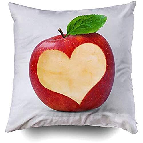 Lihaky Fundas de Almohada, Funda de Almohada Decorativa para el hogar Fundas de cojín con Cremallera Invisible de 18 x 18 Pulgadas Manzana roja con Corte en Forma de corazón, Oro Negro