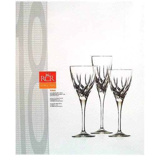 RCR set 18 glazen Trix van kristal: 6 glazen, 6 waterglazen, 6 wijnglazen