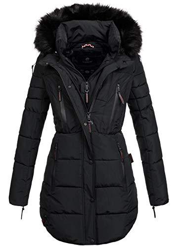 MARIKOO warme Damen Winter Jacke Winterjacke Parka Stepp Mantel lang B401 [B401-Moonshine-Schwarz-Gr.XS]