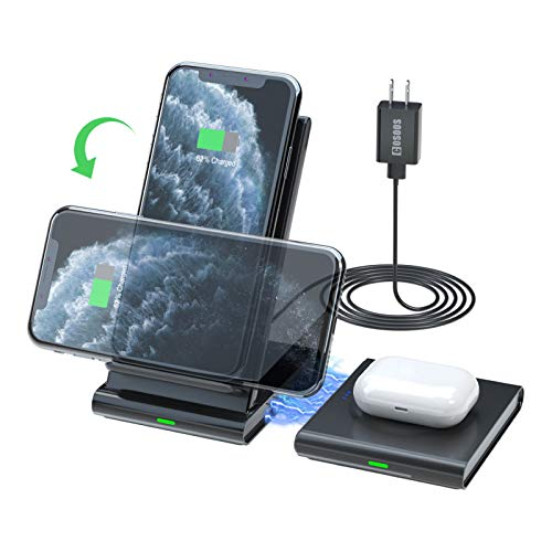 Dual Wireless Charger,COSOOS Qi Certified Wireless Charging Stand Pad for iPhone SE 2020/11 Pro Max/Xs/Xr/X/8 Plus,Airpods Pro,Samsung Galaxy S10/S9/S8,Samsung Watch,Galaxy Buds (with QC 3.0 Adapter)