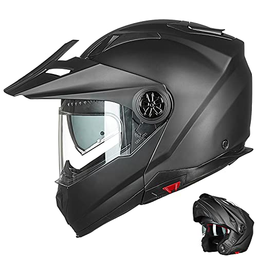 ILM Motorcycle Full Face Modular ATV Helmet Three in One Casco with Pinlock Anti Fog Visor for Men Women DOT(Matte Black XL)