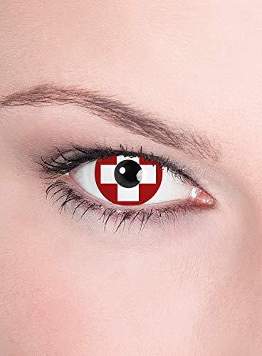 Maskworld Schweiz Kontaktlinsen/Monatslinsen - Motivlinsen ohne Sehstärke - Unisex - Erwachsene - ideal für Sport- und Groß-Events, Karneval & Motto-Party