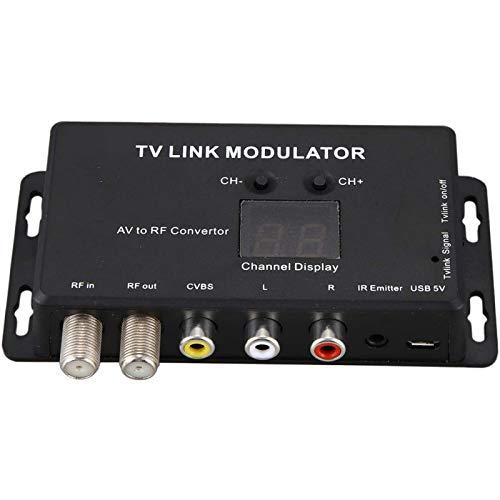 POHOVE Modulador UHF TM70 modulador de enlace de TV compuesto universal A/V a RF coaxial ágil e modulador RF TV Micro modulador RCA Compact RF Modulador Convertidor IR Extender Soporte PAL/NTSC