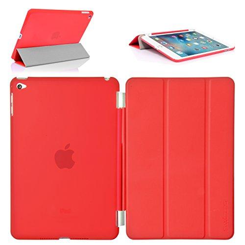 Swees iPad mini 4 Hülle, Smart Cover + TPU Back Hülle Cover Hülle Schutzhülle Etui Tasche für Apple iPad mini 4, Unterstützt Sleep/Wake Funktion - Rot