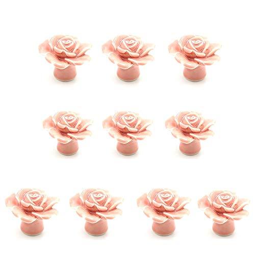 Deurknoppen Kast Lade Trek Handgrepen Set/10 Stks 45 MM Keramische Aardewerk Knoppen Chic Kabinet Kartoon Bloem Vorm Vintage Landelijke Stijl Kast Dressoir Keuken Lade Trekknopen Trekknoppen voor