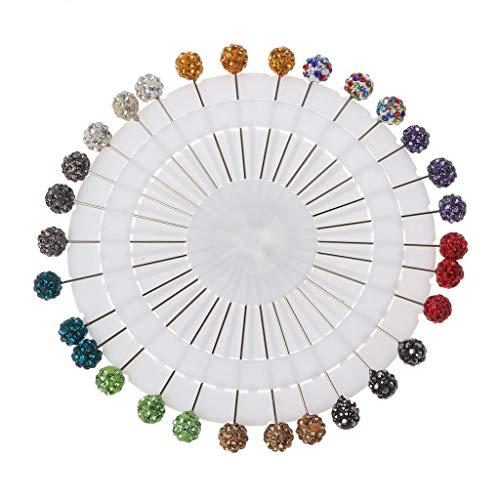 ERUYN 30 Uds Bufanda Musulmana Hijab alfileres de Seguridad Cristales Bola broches alfileres de Cabeza Recta Multicolores