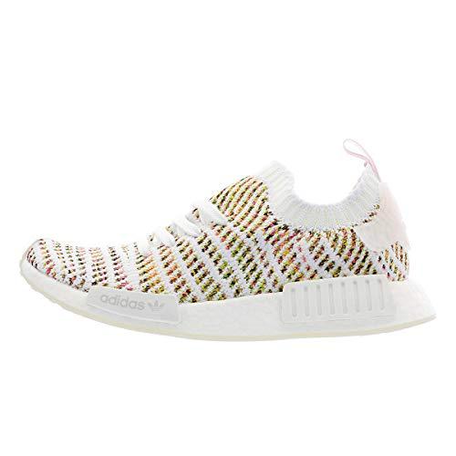 adidas Originals NMD_R1 STLT Primeknit Shoe Womens Casual 7 White-Semi Solar Yellow-Pink