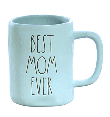 Rae Dunn Best Mom Ever Mug Tiffany Blue With Black Lettering LL Large Letter with Coffee Tea Cup…