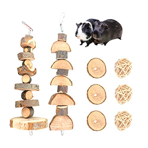 S-Mechanic Bunny Chew Toys Natural Apple Wood Small Animal Chew Toys for Rabbits Chinchilla Hamsters Guinea Pigs Gerbils (Pack 1)