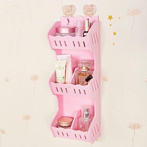 Murale de rangement de produits cosmétiques mur de la salle de bain étanche en plastique étagère téléphone mobile télécommande débris rack (couleur : Rose)