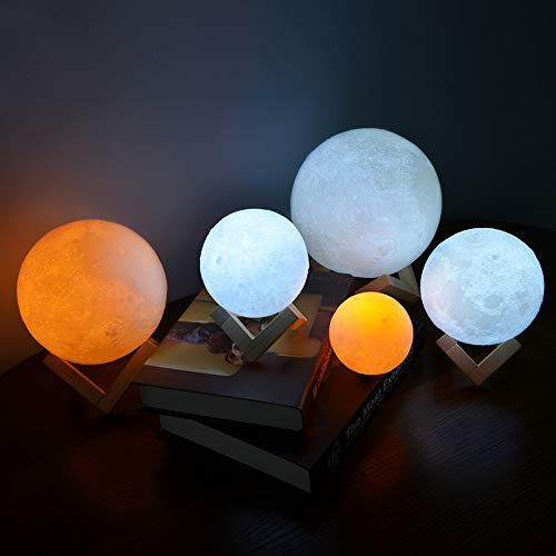 3D Print Rechargeable Moon Lamp LED Night Light Creative Touch Switch Moon Light for Bedroom Decoration Birthday Gift - 10cm,a4