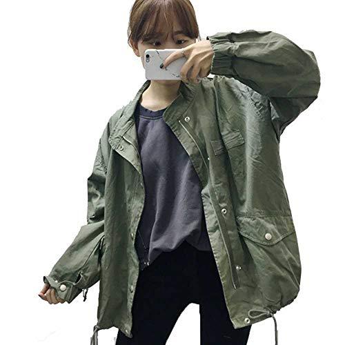 ZBBYMX Big Pocket Casual jas lange mouwen vintage vrouwelijke jas vrouwen Europa leger groen rits jas losse mantel