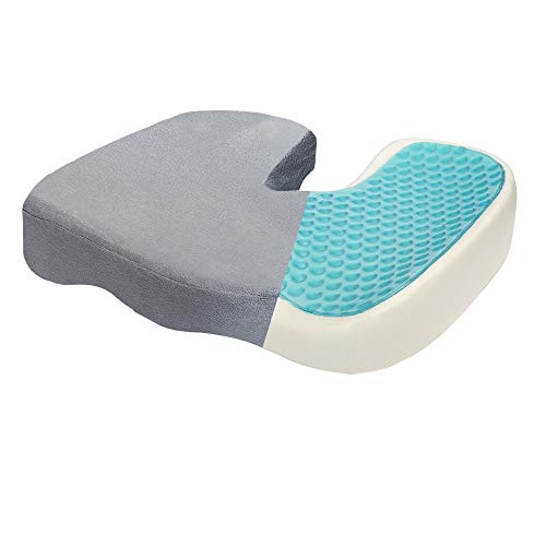 Dr. Flink Tailbone Seat Cushion - Pain Relief Chair Pillow, Cool Gel-Enhanced 100% Memory Foam, Orthopedic & Quality Comfort   Support & Relives Back & Sciatica, for Car, Truck, Home, and Office