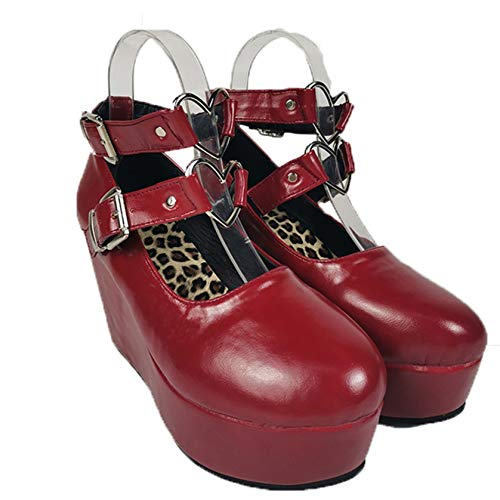 Zapatos Gruesos para Mujer, Suela Suave Lotita, Exterior, Primavera, otoño, Hebilla de corazón, usable, Ocio, Caminar, Casarse con Janes, Zapatos de cuña