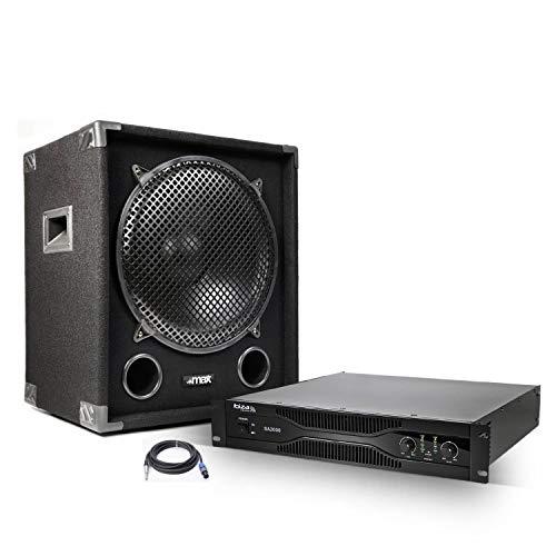 Amplificador PA 2x1000 W + W + subwoofer 1200 cableado necesario