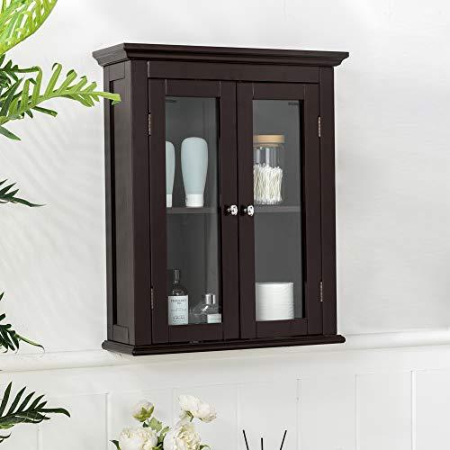 "Glitzhome Wooden Bathroom Wall Storage Cabinet, 24"" H, Espresso"