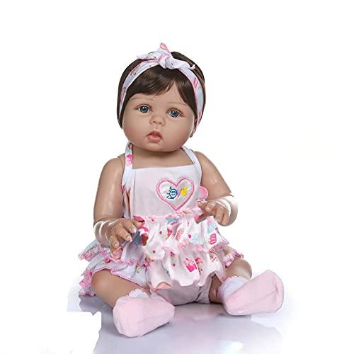 MineeQu 18' così Veramente Morbido Delicatamente Touch Silicone Vinile Pieno Corpo Bambole del Bambino rinato in Pelle abbronzata Preemie Reale Sveglio Bambola Appena Nata Lavabile per Ragazza