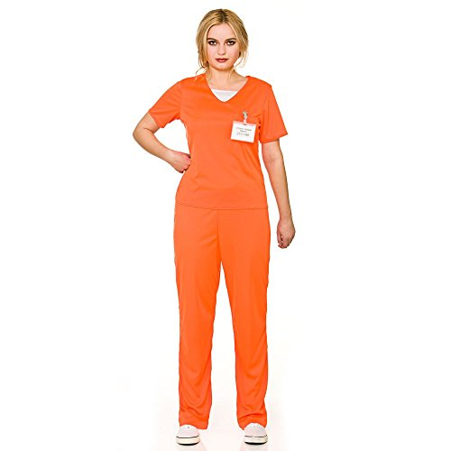 Adult's Women's Orange Convict Prisoner Shirt & Trousers Fancy Dress Costume-Small