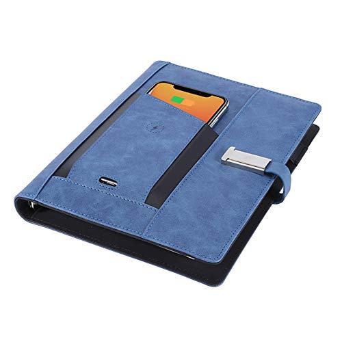 Rockingtail Wireless Charging Pocket Notebook 8000mAh Power Bank Multi-Functional Binder Spiral Diary Book & 16g USB Flash Di for Annual Meeting,10PCS