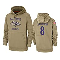Dunbrooke Apparel Baltimore Ravens #8 Lamar Jackson Tan 2019 Salute to Service Sideline Therma Pullover Hoodie XXL