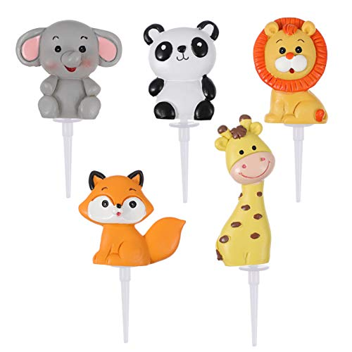 STOBOK Jungle Safari Animale Toppers Cupcake Zoo Animali Toppers Torta di Compleanno per I Bambini Baby Shower Animale A Tema Decorazioni della Torta 5 Pezzi