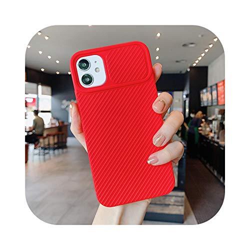 Funda protectora para iPhone 11 con cámara deslizante para iPhone 7, 8 Plus, XS, Max XR, 12 Mini 12 Pro Max Stripe de silicona, color rojo para 12 Pro