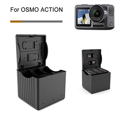 Sodoop Battery Charger for DJI Osmo Action Camera, Portable Outdoor 3 in 1Intelligent Storage Type Battery Charging,2A Quick Charger for DJI OSMO Action 4K Camera