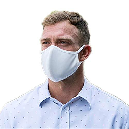 Shineshae 5Pcs Atmungsaktiv Weiß 100% Baumwolle Mundschutz Face Mouth Cover Waschbar Stoff Bandana, Wiederverwendbar Atemschutz Halstuch für Cycling, Radfahren, Outdoor-Aktivitäten, Stadt pendeln