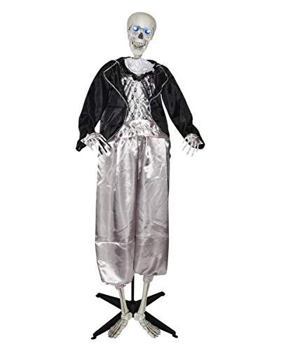 Horror-Shop Lebensgroße Halloween Skelett Bräutigam Standfigur 160cm